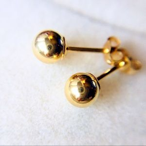 14K Yellow Gold Ball Earring Studs